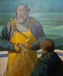 """Tableau """"Pécheur et son fils"""