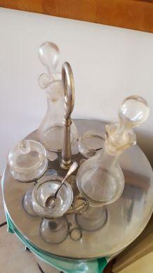 Ensemble service vinaigre huile en verre ancien