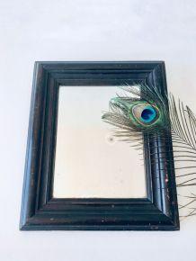 Très ancien miroir cadre bois noir