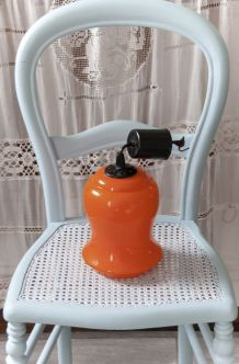 Suspension  en verre opaline orange