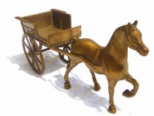 charette et  cheval en laiton  vintage