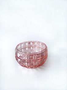 Vide poche ou coupelle en cristal moulé rose de Portieux