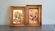 paire de cadres de fleurs séchées vintage des années 60