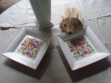 Paire de cendrier/vide poche en porcelaine