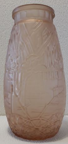 vase art nouveau en verre orange