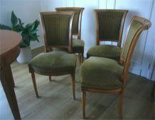 6 Chaises vintage (1960) dessus velours / merisier