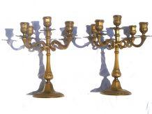 paire de chandeliers 5 branches en laiton