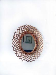 Miroir vintage ovale en rotin, miroir soleil
