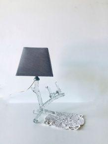 Lampe oiseaux sur arbre en verre, vintage