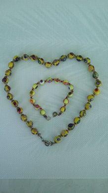 Collier de perles jaune en verre Murano original & bracelet