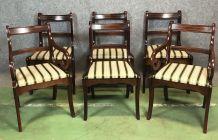 Set de 2 fauteuils et 4 chaises en acajou - années 80
