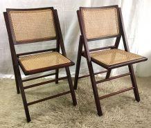 Chaises pliantes bois et cannage (la paire)