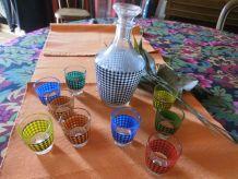 Service à liqueur vichy multicolore VINTAGE