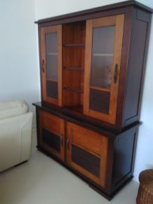 Bibliotheque en bois massif style colonial