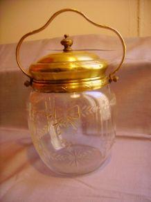 Seau à biscuits en cristal taillé ART DECO 1930 signé