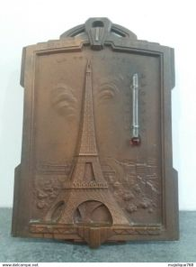 plaque en régule - souvenir de paris la tour Eiffel en relie