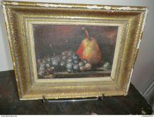 Tableau décor poire et raisins signature Delettre 1964