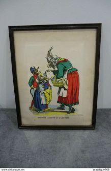 Image d'Épinal encadré - commère la chèvre et ses biquets