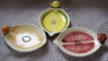 3 petites plats en faïence pour l'apéro / années 70