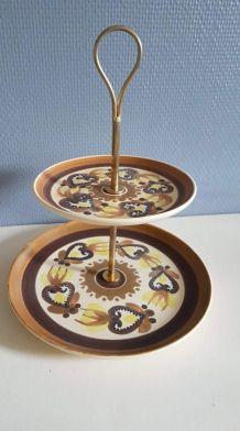 serviteur 2 plateaux céramique peint à la main et métal doré