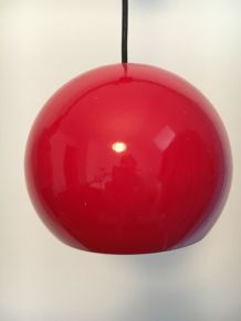 Suspension vintage globe en métal rouge