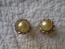 Boucles oreille perle et strass