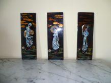 3 panneaux laqués et incrustés de nacre vietnam