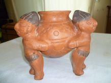 Vase tripode (style précolombien) vintage Mexique