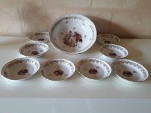 magnifique service  a dessert en porcelaine de chauvigny