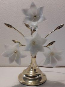 lampe fleur en laiton et verre années 70