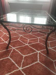 Table basse fer forgé plateau de verre