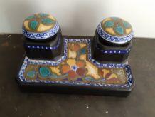 Encrier en céramique hollandaise de marque gouda