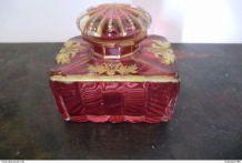 Ancien flacon à parfum en cristal avec dorure XXème.