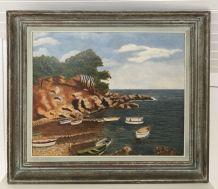 Tableau paysage bord de mer côté d'azur 60'S