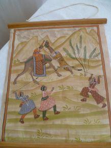 Ancienne estampe sur soie mongole