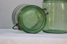 Paire de bocaux L'IDEALE, verre ancien, cuisine