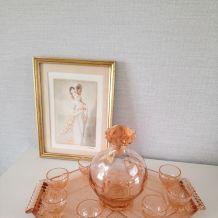 Service à liqueur vintage rose.