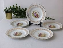 5 assiettes porcelaine de France Digoin