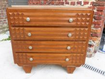 Commode 4 tiroirs bois et marbre