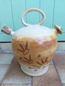 Ancienne jarre à huile en terre XIXe avec bouchons en liège