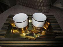 rare service à café Art Deco,laiton et porcelaine