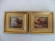 2 petits tableaux émaux Limoges L DADAT vintage