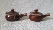 2 cocottes individuelles en grès émaillé marron glacé - comm