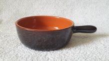 Petite poêle en terre cuite vernissée, diamètre 15 cm