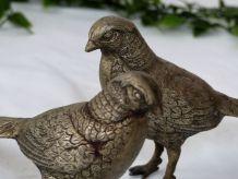 Couple de faisans en métal argenté