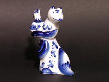 Femme Renard et Poule GZHEL / Porcelaine de GJEL