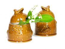 Petit Pot à Miel en céramique 1980 / Décor Ruche