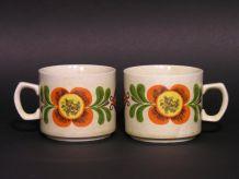 Tasses à Café Weidmann / Mugs Rétro 70 Fleur Orange