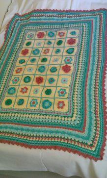 Plaid  coton  crochet fleurs fait main