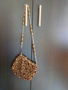 Petit sac besace perles bois
